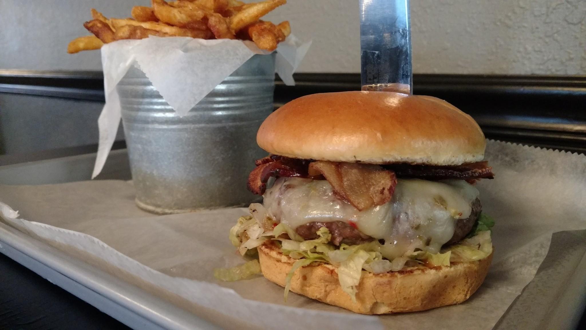 Bacon Cheese burger & fries