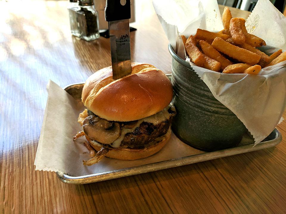Mushroom Cheese burger & fries